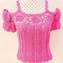 Blusa Escotes a Crochet