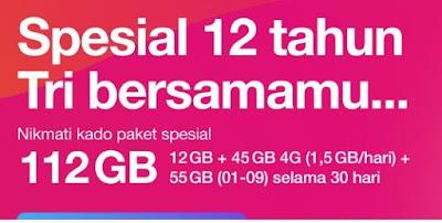 Cara Mendapatkan Paket Internet Tri Kuota 112 GB Harga Tri Murah Kado Spesial