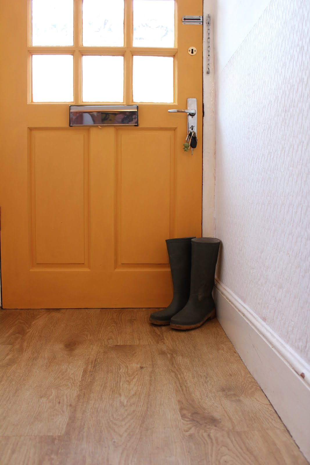 Mustard Yellow Front Door in Hallway