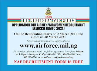 NAF Recruitment Form for Airmen & Women 2021/2022 [BMTC 2021]
