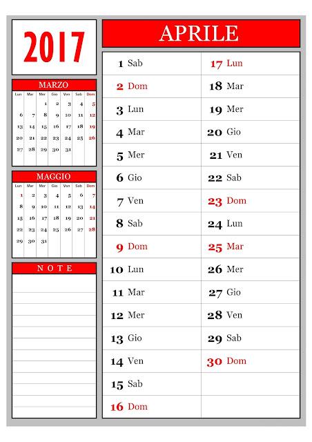 Calendario mensile - Aprile 2017