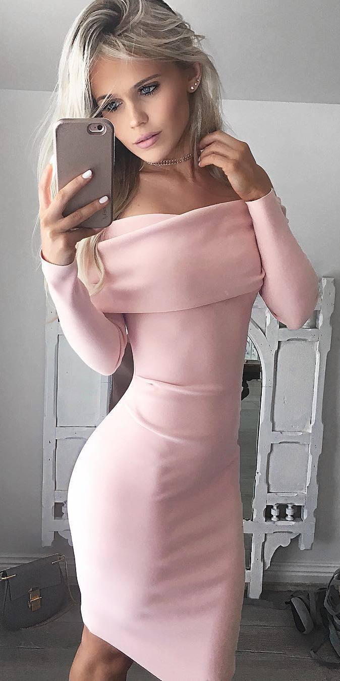 elegant outfit idea / pink dress