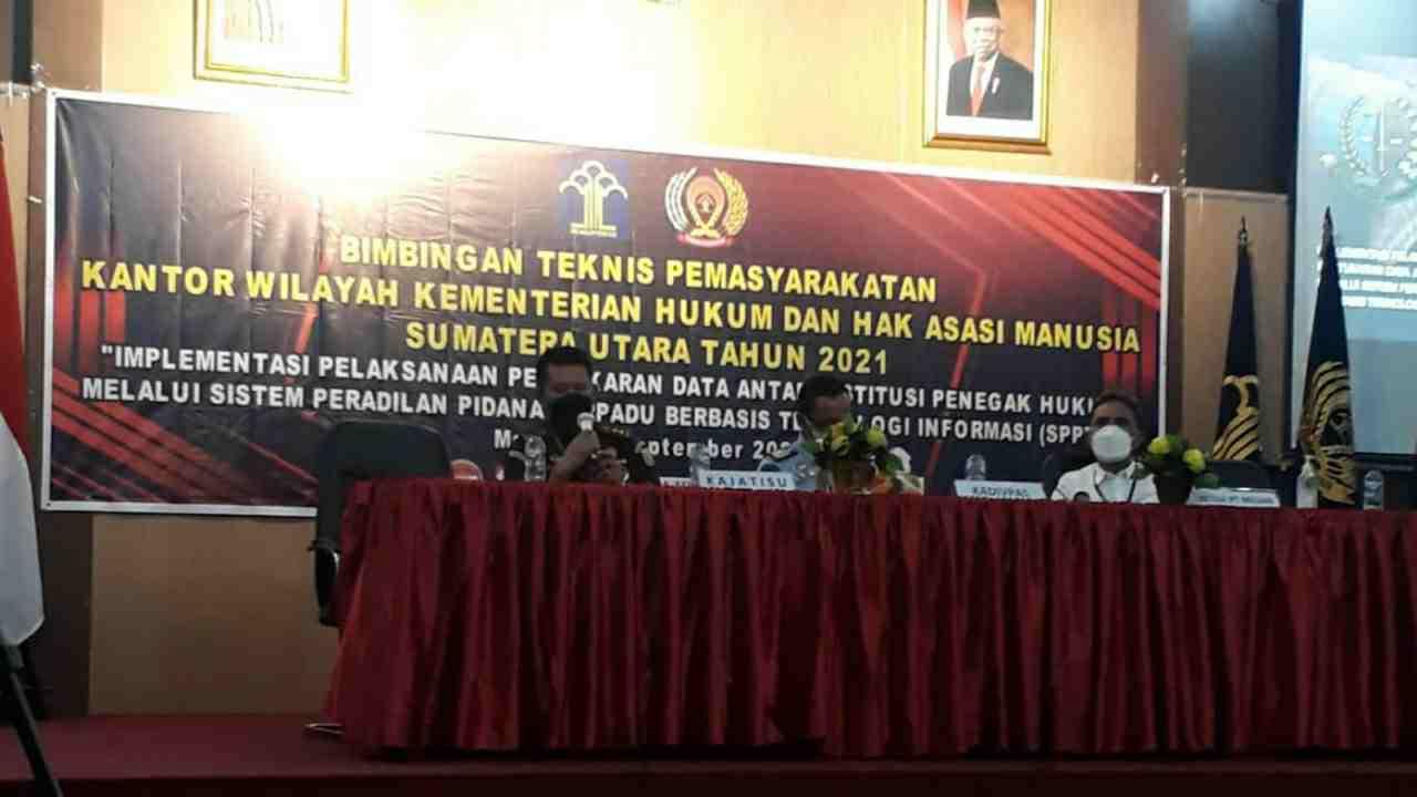 Rutan Labuhan Deli Ikuti Bimtek Kanwil Kemenkumham Tentang Peradilan Pidana Berbasis Online