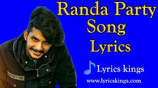 Randa Party Song  Lyrics :- (Gulzaar Chhaniwala)