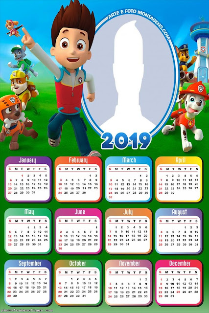 Calendario 2019 de Paw Patrol para Imprimir Gratis.