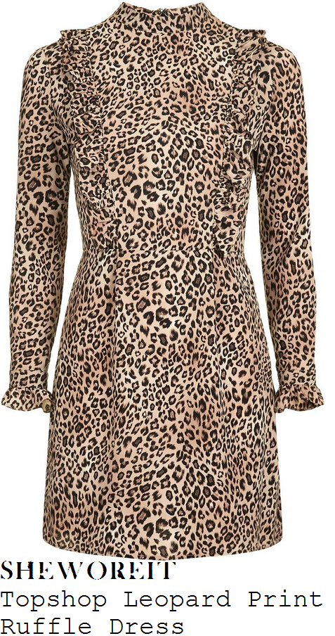 fearne-cotton-topshop-brown-cream-and-black-leopard-print-long-sleeve-high-neck-ruffle-frill-trim-detail-a-line-mini-dress