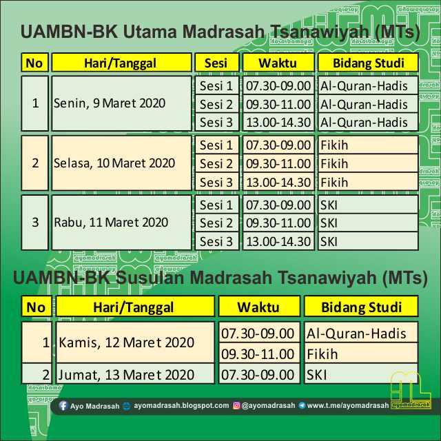 Jadwal UAMBN-BK MTs 2020
