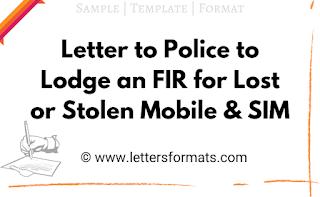 mobile stolen complaint letter to police