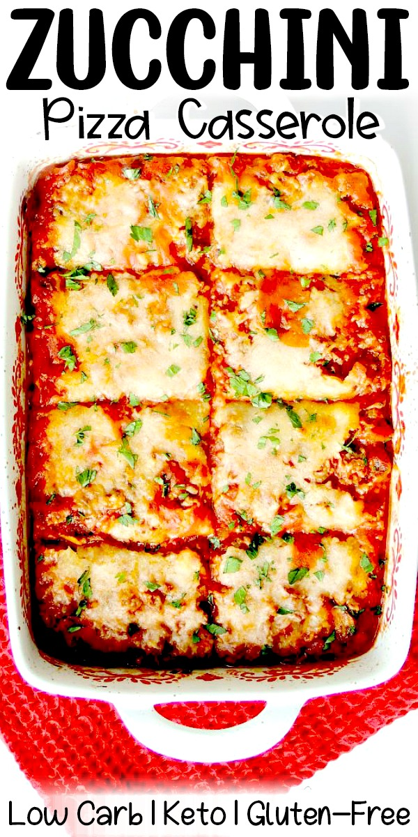 This Zucchini Pizza Casserole is low-carb, keto-friendly, gluten-free, and full of delicious pizza goodness! #keto #lowcarb #glutenfree #pizza #zucchini #casserole #recipe | bobbiskozykitchen.com