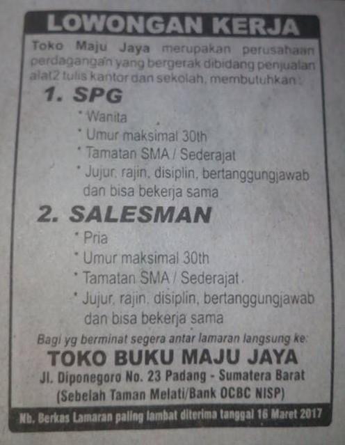 Lowongan Kerja di Padang – Toko Buku Maju Jaya – 2 Posisi (Closed 16 Maret 2017)