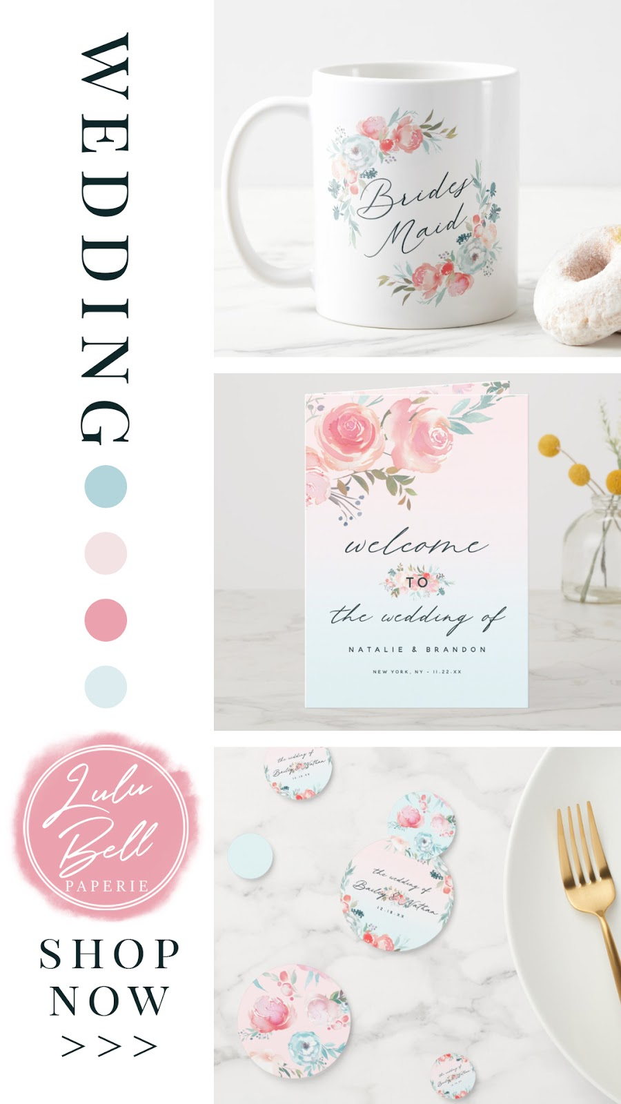 French Garden Floral Wedding Suite - Bridal Party Mugs, Wedding Programs, and Reception Table Confetti