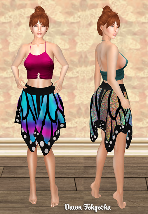 c81a001797 First I have a flirty skirt set to show you, the {LBB} Mariposa Outfit. The  top and skirt each come in standard mesh sizes plus Freya, Isis, Venus,  Maitreya ...