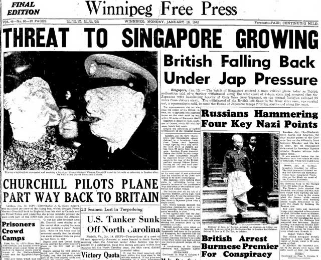 Winnipeg Free Press, 19 January 1942 worldwartwo.filminepctor.com