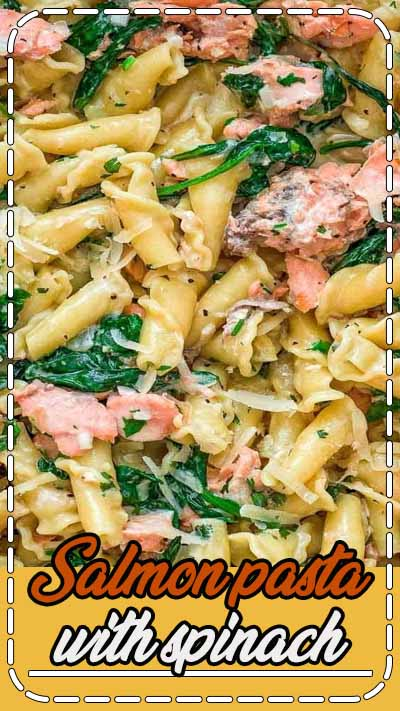 This Salmon Pasta with Spinach is a deliciously easy pasta recipe with chunks of tender salmon and spinach in a scrumptious, creamy Parmesan sauce!