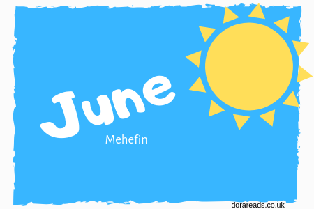 June - Mehefin graphic with blue sky and sun shape