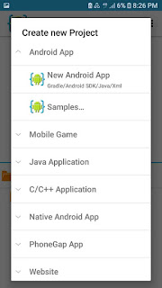 Tap new android app