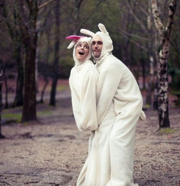 Couple wearing rabbits