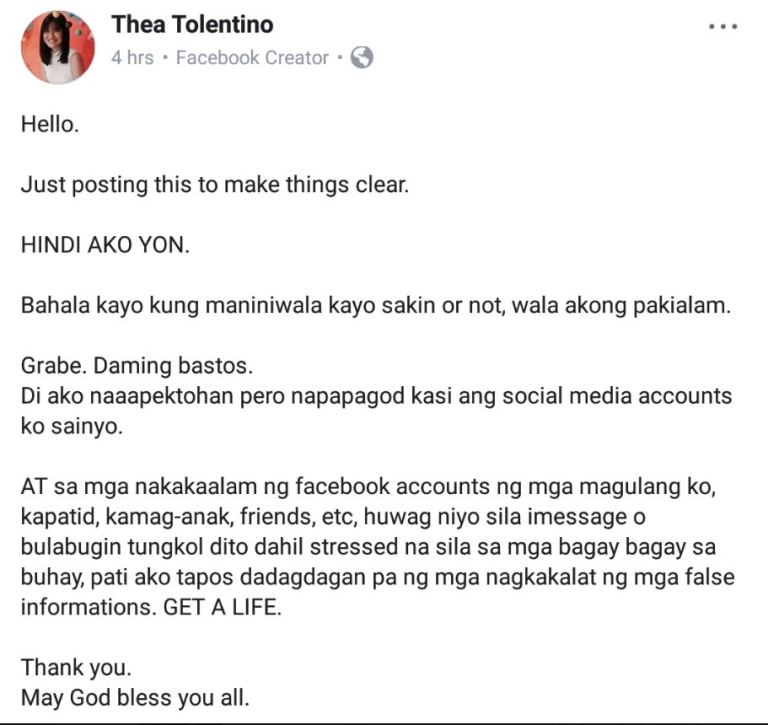 Thea tolentino alleged scandal at thea