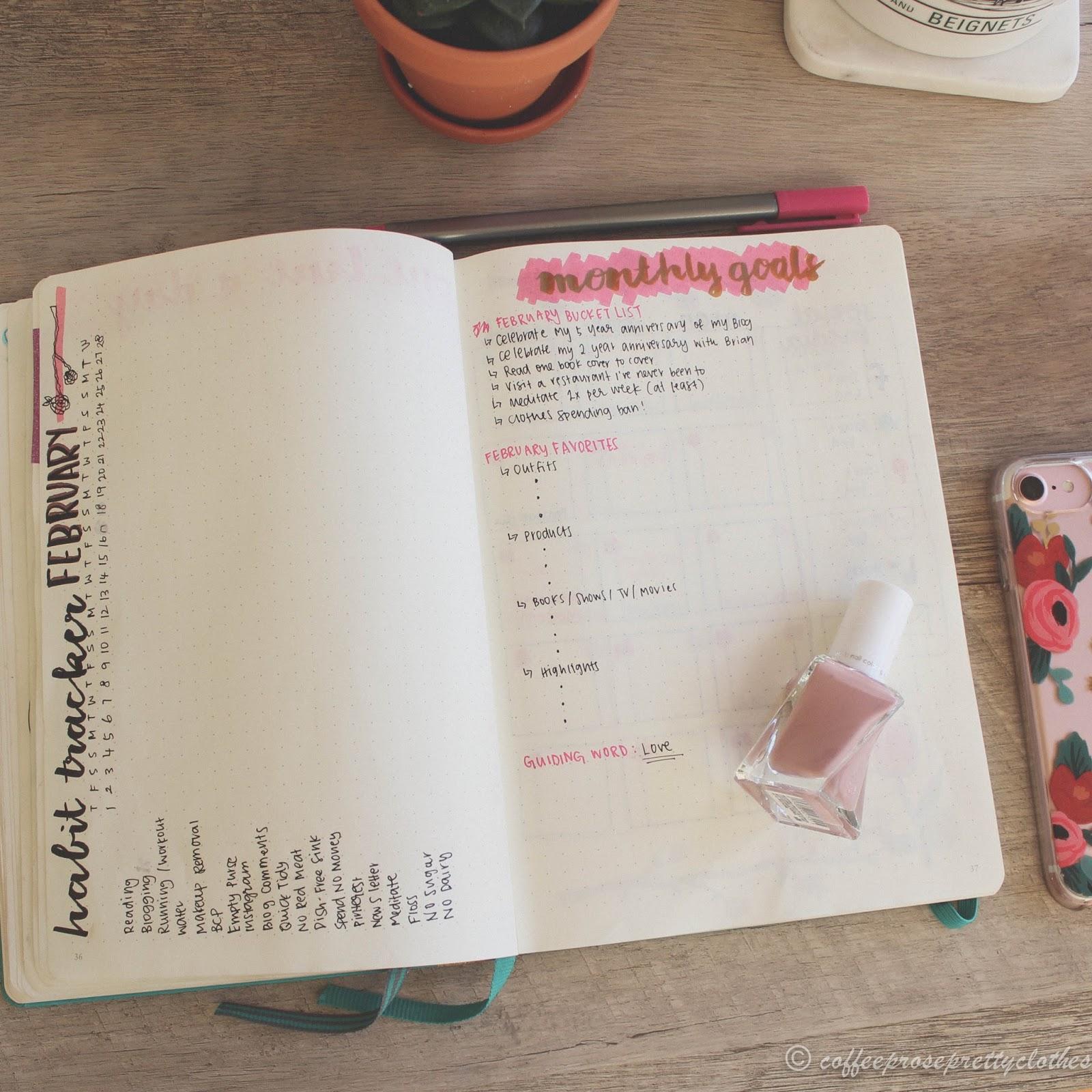 Bullet Journal Habit tracker, monthly goals