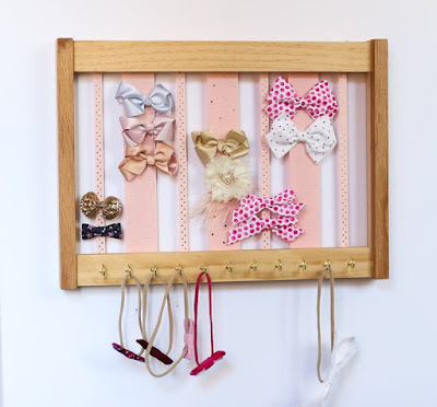 bow organizer and headband holder — wood frame with ribbons