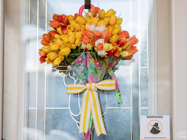 A Tulip Umbrella Wreath That's Perfect for Spring