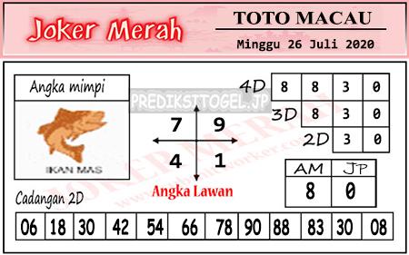 Prediksi Joker Merah Toto Macau Minggu 26 Juli 2020