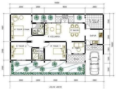 Denah Rumah Sederhana 1 Lantai - 3 Kamar Tidur.