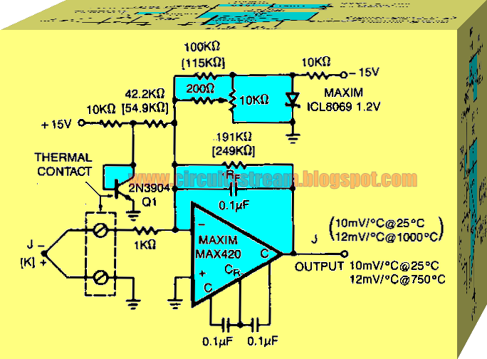 Simple Thermocouple Preamplifier Circuit Diagram