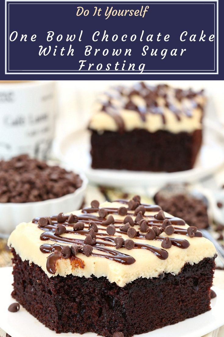 One Bowl Chocolate Cake With Brown Sugar Frosting - With just a handful of ingredients, this no fuss one bowl chocolate cake will quickly become one of your favorites! Top with a layer of brown sugar frosting or serve with a scoop of your favorite ice cream!