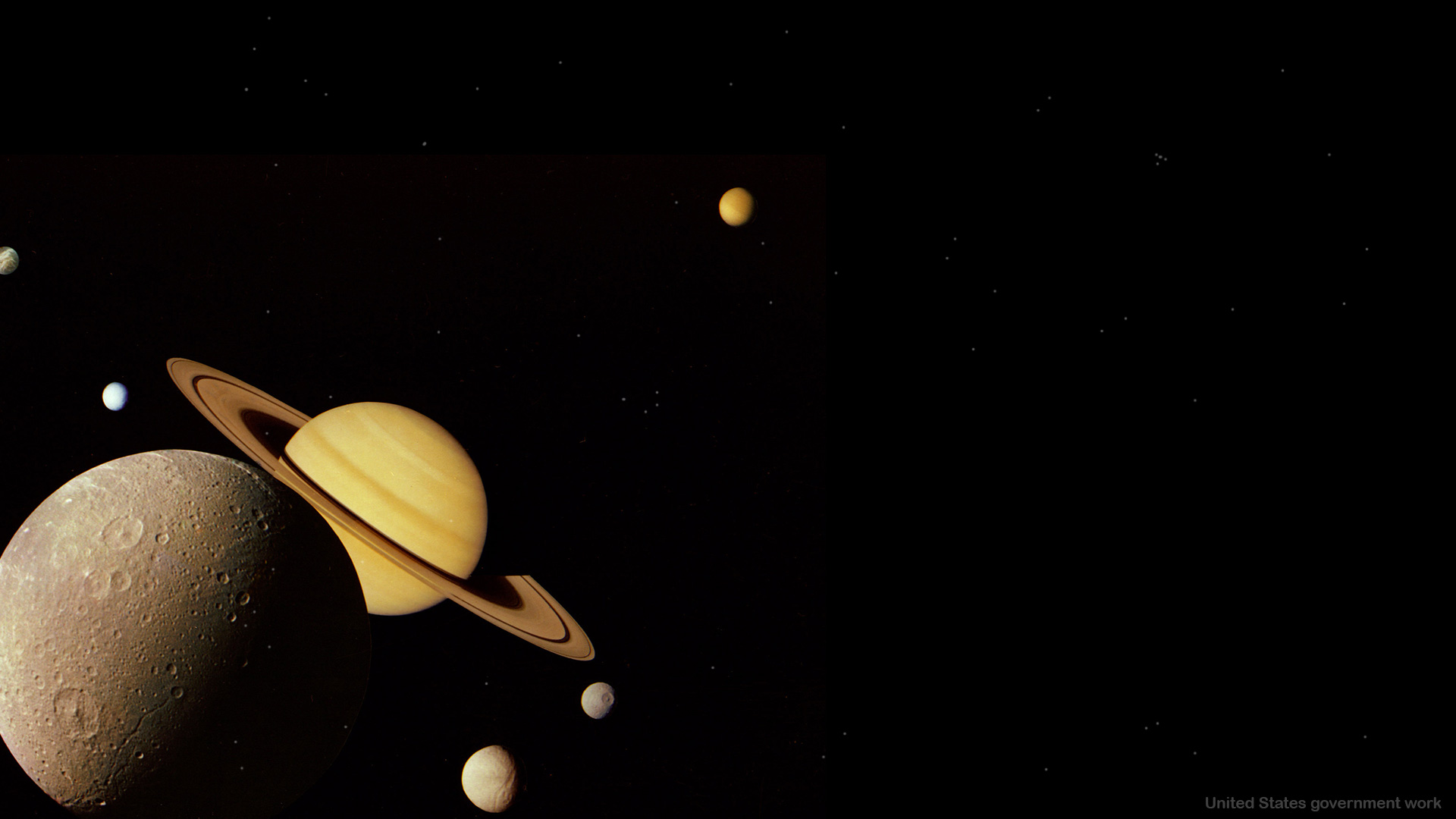 Saturn and its moon - presentation background for free