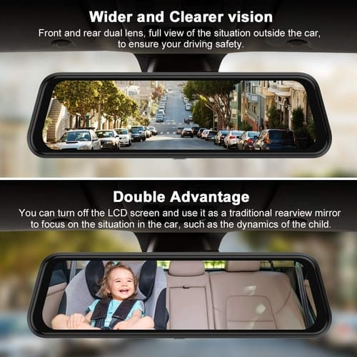 GRC Car 10 Inch 1080P HD Mirror Dash Camera