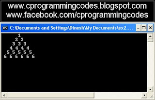 Output of number pyramid C program