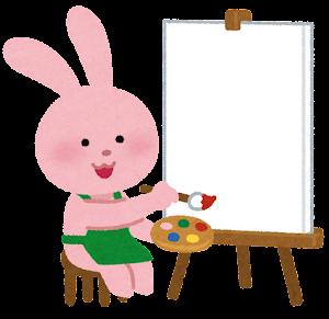 キャンバスに絵を描く動物のキャラクター(ウサギ)