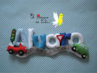 nombre-fieltro-Alvaro-elbosquedelulu-feltro-felt-name-banner-decoración-infantil-regalo-personalizado-baby-room