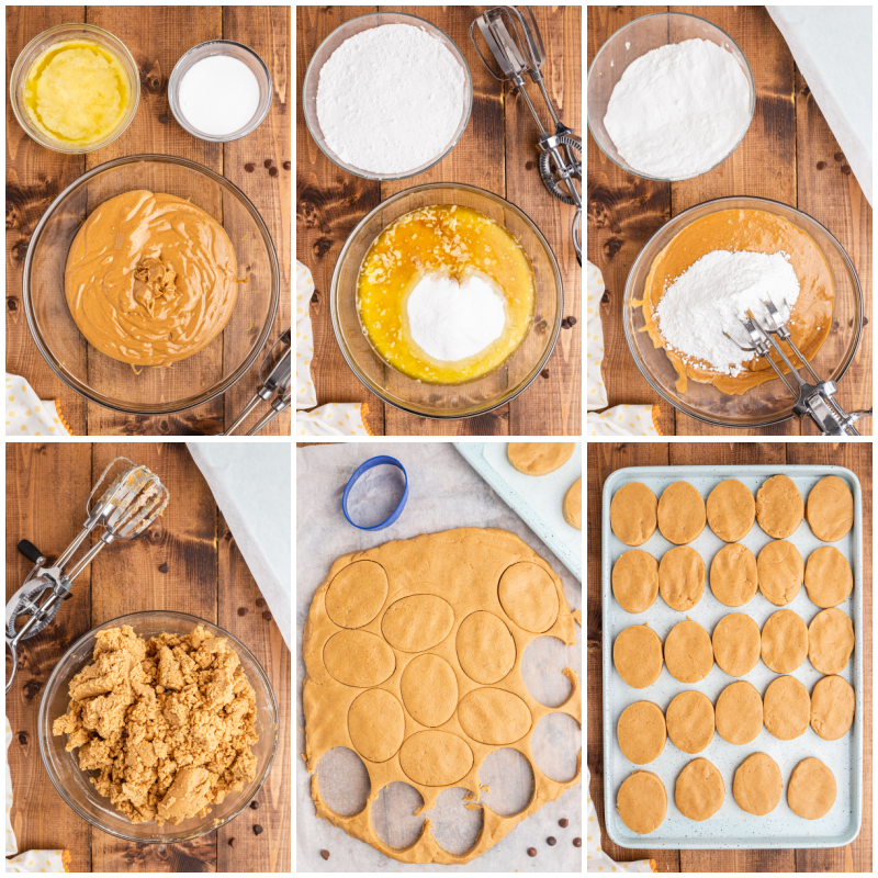 Six photo of the process of making the peanut butter egg portion of Keto Peanut Butter Chocolate Easter Eggs.