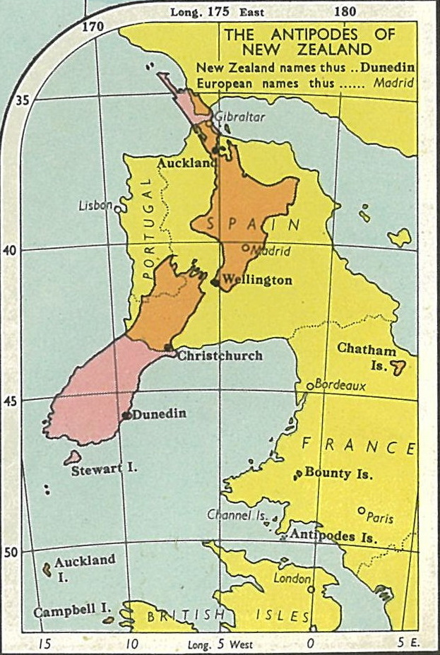 A map with a closer look at where New Zealand has antipodes with Spain and Portugal