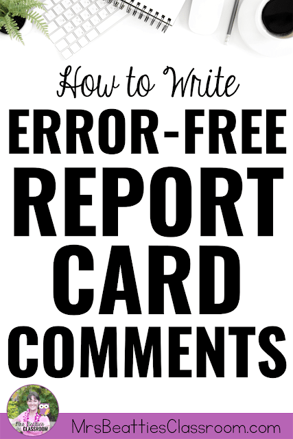 "Photo of computer desktop with text, ""How to Write Error-Free Report Card Comments."""