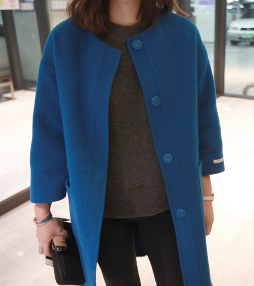 Snap Button Front Long Sleeve Coat