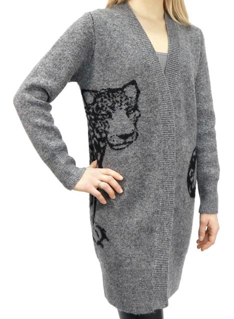grey leopard cardigan