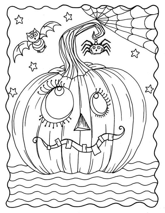 Tranh tô màu Halloween quả bí ngô đáng sợ