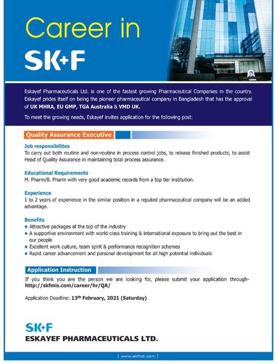 Eskayef Pharmaceuticals Job Circular 2021 - এসকেএফ ফার্মাসিউটিক্যালস লিমিটেড জব সার্কুলার ২০২১