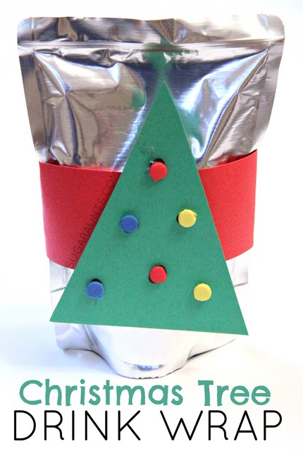 DIY Christmas tree drink cover. These are easy to put together and would be a hit at a kid's party or for a special day leading up to Christmas!