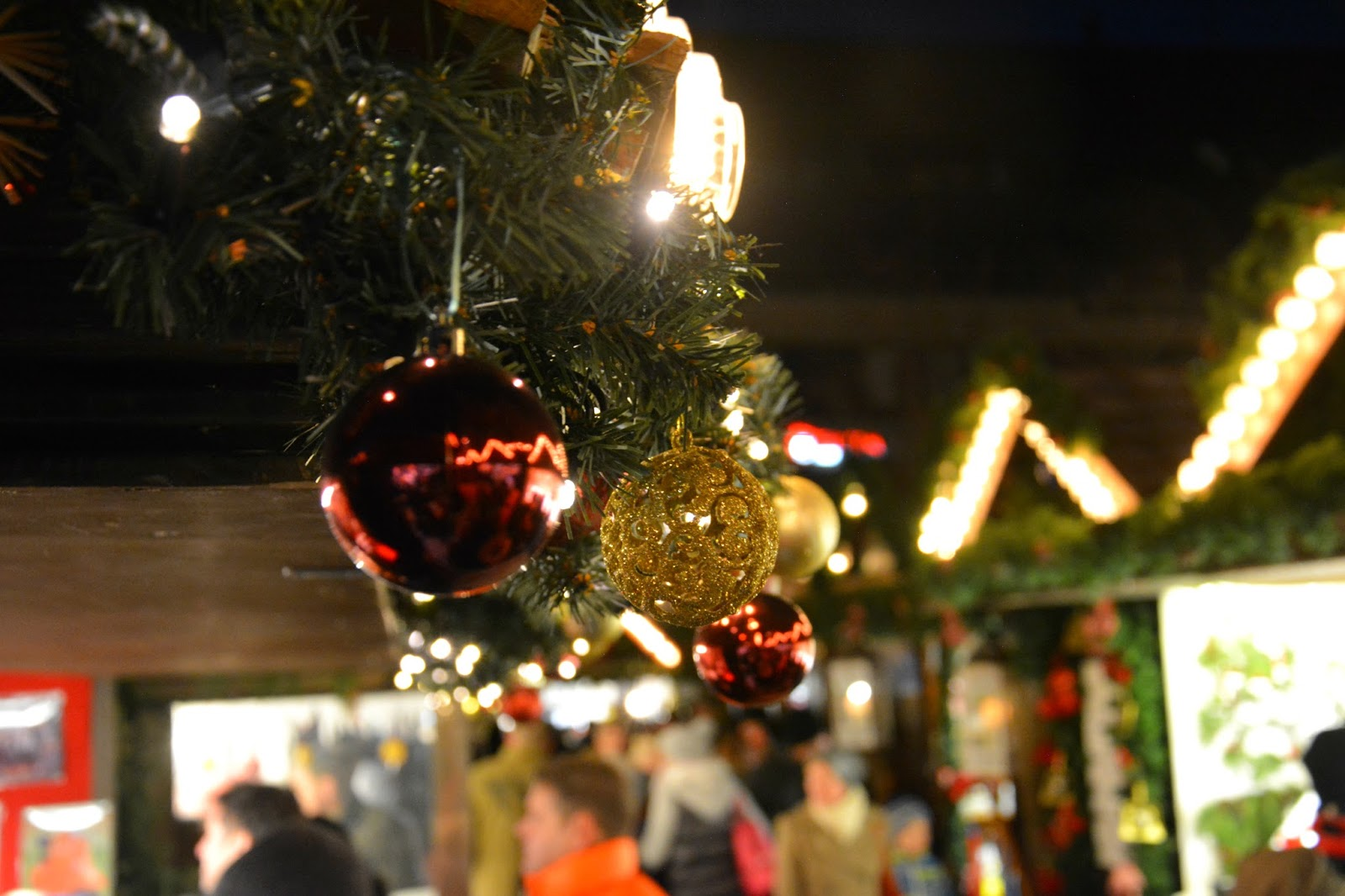 bauble decoration on Christmas market huts