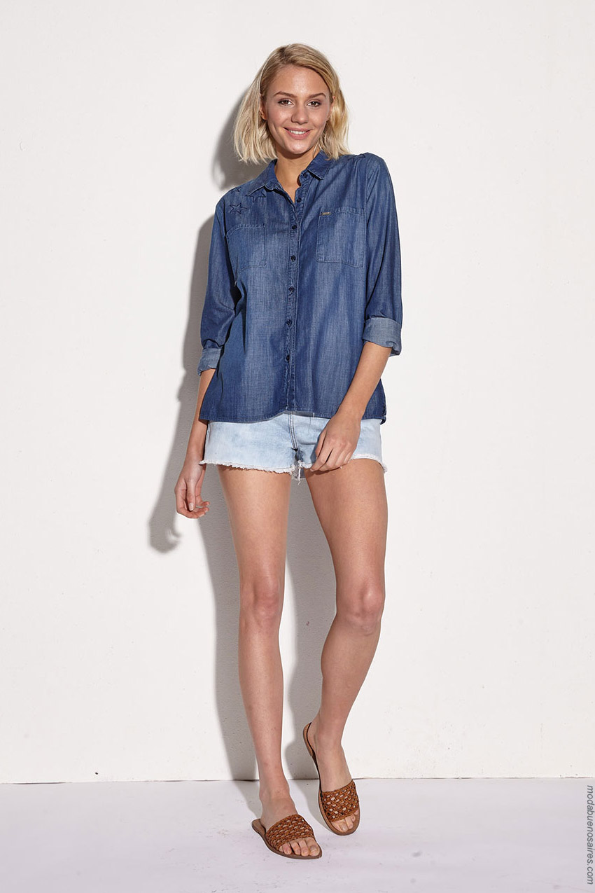 Moda mujer primavera verano 2020 camisas de jeans.