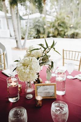 Maroon wedding table setting