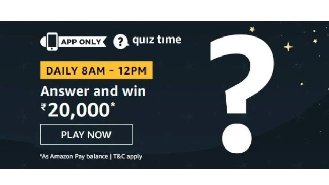 Amazon Quiz Answers For Today 23rd April 2020 - Win Rs.20000 Amazon Pay Balance