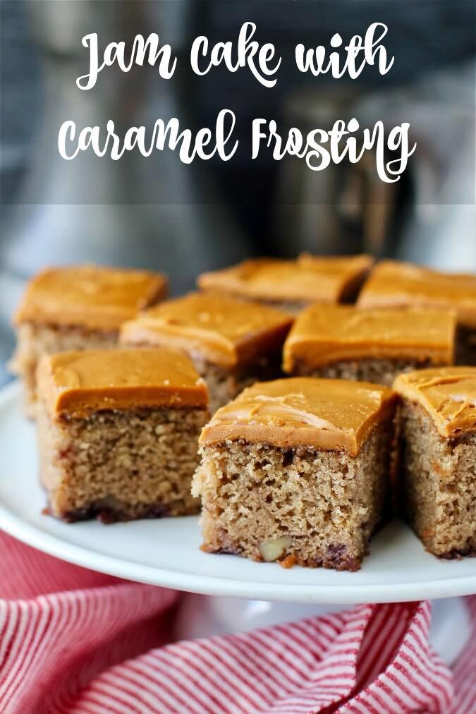 Jam Cake with Caramel Frosting