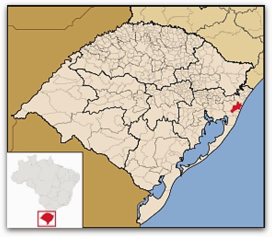 Cidade de Osório, no mapa do Rio Grande do Sul