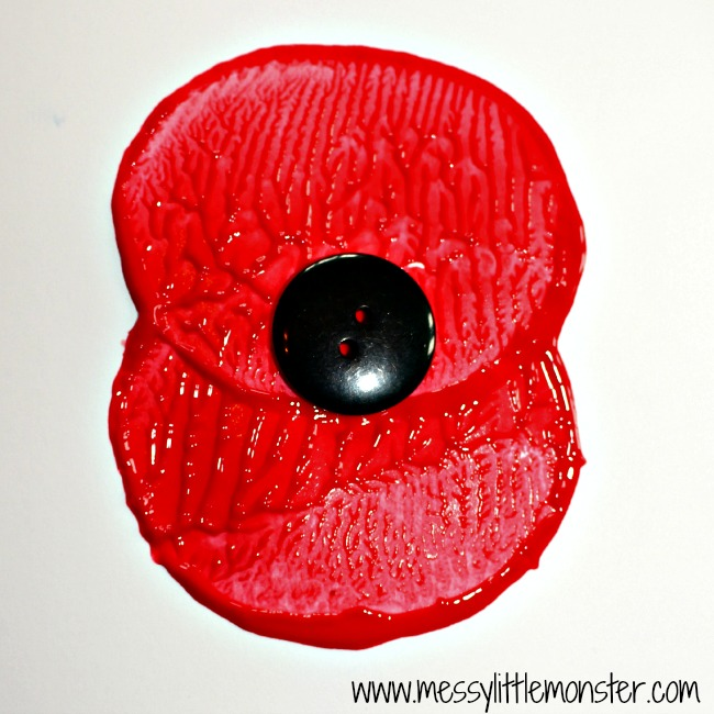 simple Remembrance day poppy potato print craft for kids