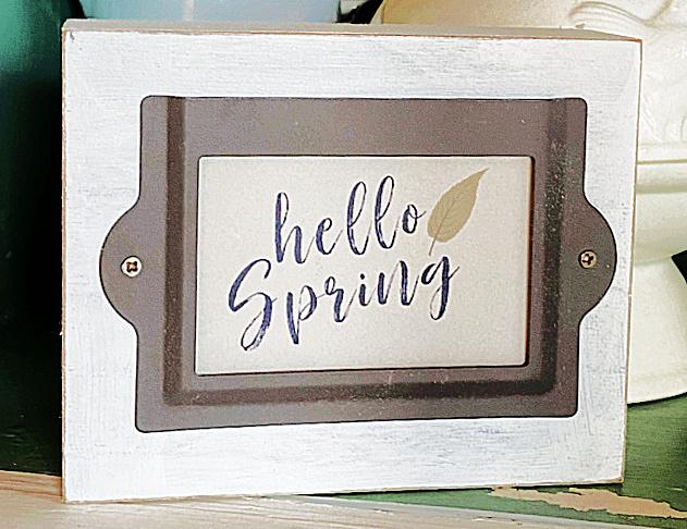 Repurposed Dollar Store Hello Spring Sign